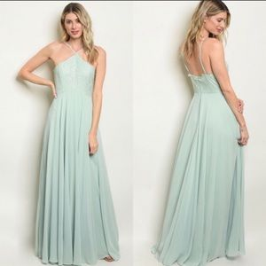 Sage Green Halter Neck Lace Gown